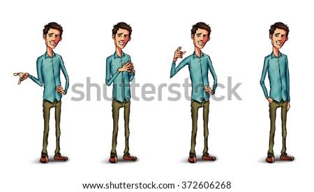 Cartoon man. Character. Cartoon people. Cartoon character. Cartoon background. Cartoon characters. Cartoon face. Cartoon hands. Cartoon happy face. Cartoon man. Character. Speech bubble. Quote bubble - stock photo