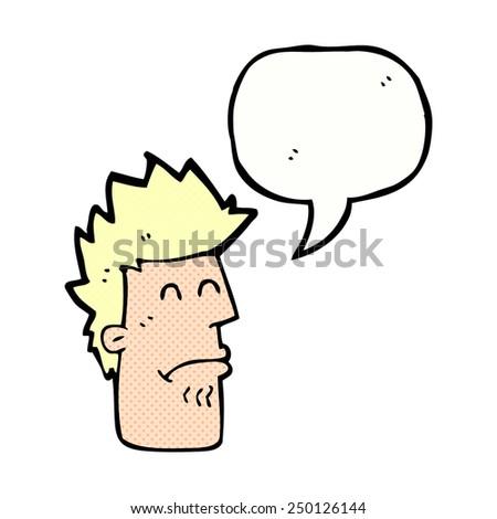 cartoon man feeling sick with speech bubble - stock photo