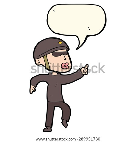 cartoon man in bike helmet pointing with speech bubble