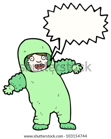 cartoon man in sealed suit