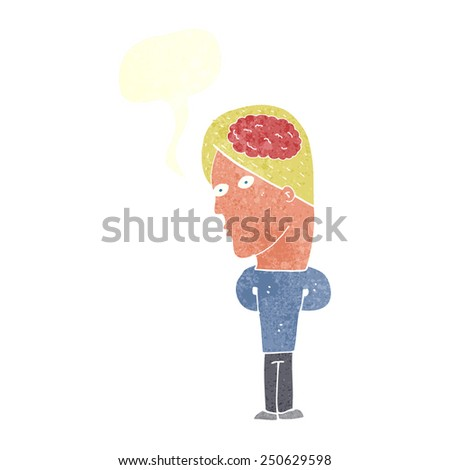cartoon man with big brain with speech bubble - stock photo