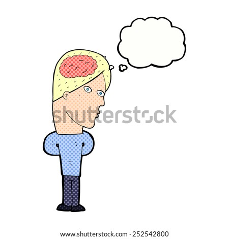 cartoon man with big brain with thought bubble - stock photo