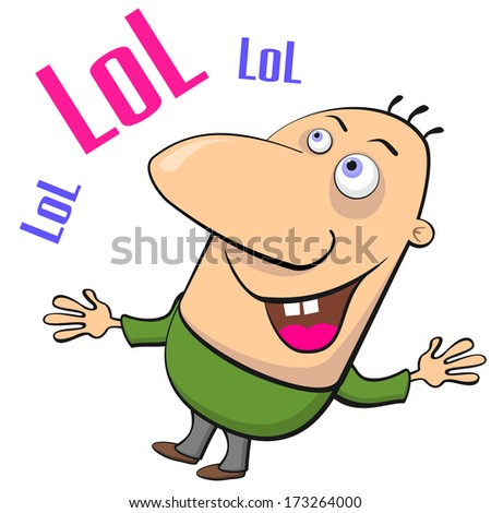 Cartoon man with big nose laughing out loudly - stock photo