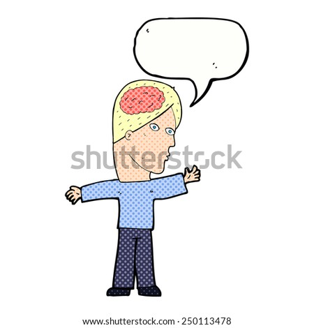 cartoon man with brain with speech bubble - stock photo