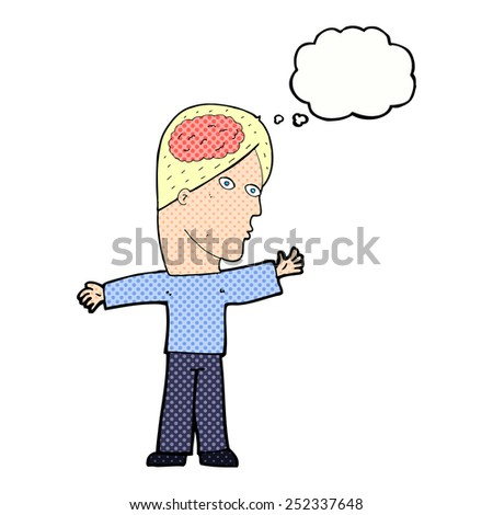 cartoon man with brain with thought bubble - stock photo