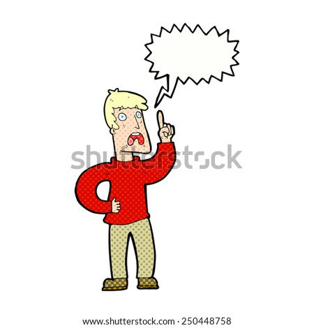 cartoon man with complaint with speech bubble - stock photo