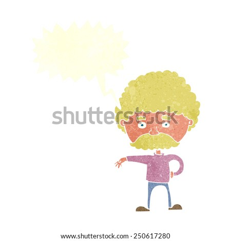 cartoon man with mustache making camp gesture with speech bubble - stock photo