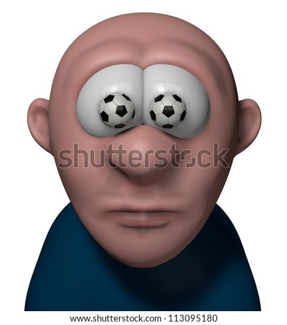 cartoon man with soccer balls in his eyes - 3d illustration - stock photo