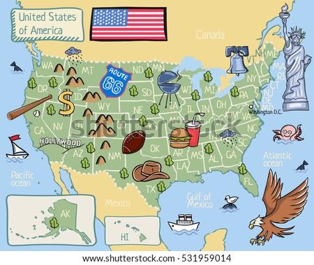 Landmarks Decorate Map North America Stock Illustration - Us map with landmarks