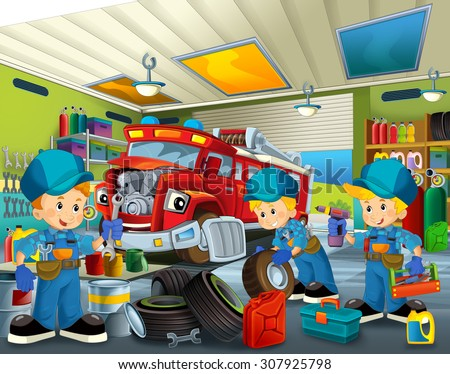 Cartoon mechanic workshop - illustration for the children - stock photo