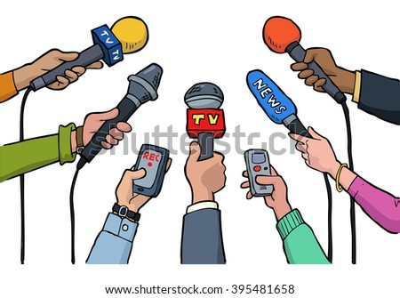Cartoon media interview on a white background raster version
