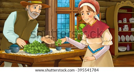 Cartoon medieval scene of a woman and a man in the kitchen - illustration for children - stock photo