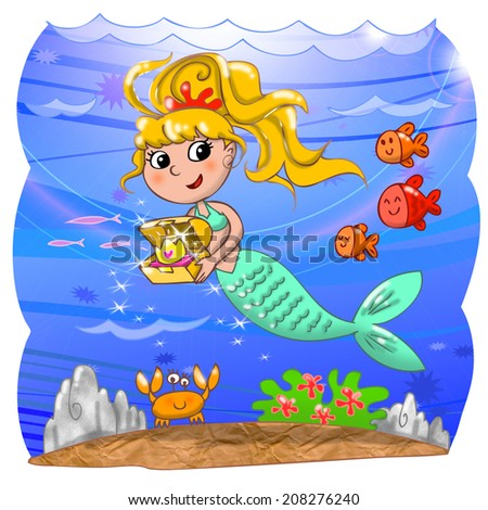 Cartoon mermaid with treasure box in the ocean. Digital illustration for children. - stock photo