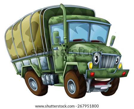 Cartoon military truck - caricature - illustration for the children - stock photo