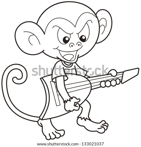 cartoon monkey playing an electric guitarblack and white
