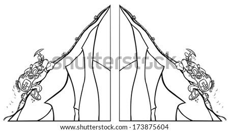 Cartoon Mountaineers. Two outline versions. - stock photo