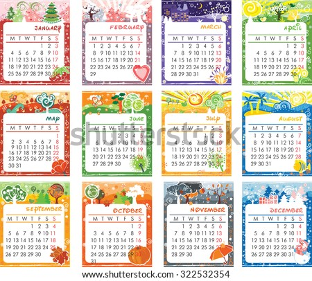 Cartoon multicolored calendar of 2016