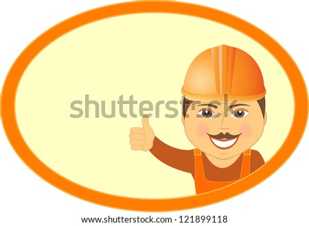 cartoon mustache builder showing thumb up and smile in frame