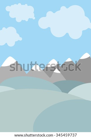Cartoon natural landscape. Sky with clouds. Mountains and fields.