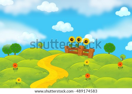Cartoon nature farm scene for different usage - illustration for children