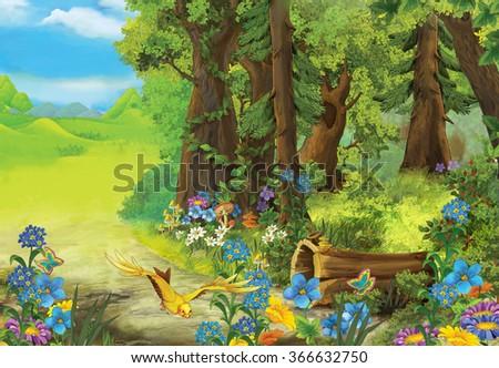 Cartoon nature scene - illustration for the children - stock photo