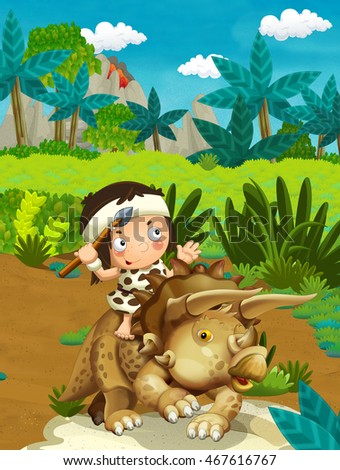 Cartoon nature scene with caveman - jungle - stone age family - with funny manga boy - happy illustration for children