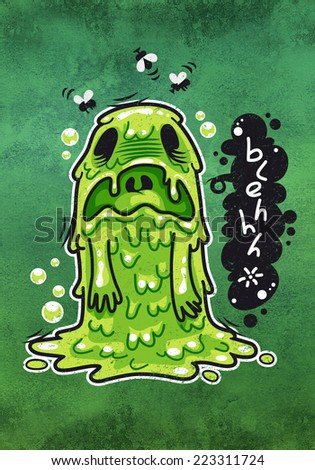 Cartoon Nausea Monster. Illustration for poster or postcard. - stock photo