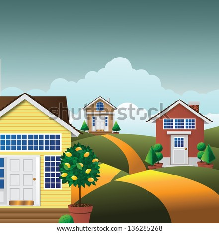 Cartoon Neighborhood. jpg - stock photo