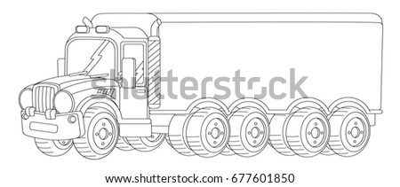 cartoon nice looking cargo truck with trailer coloring page illustration for children