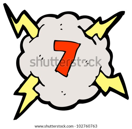 cartoon number in seven storm cloud