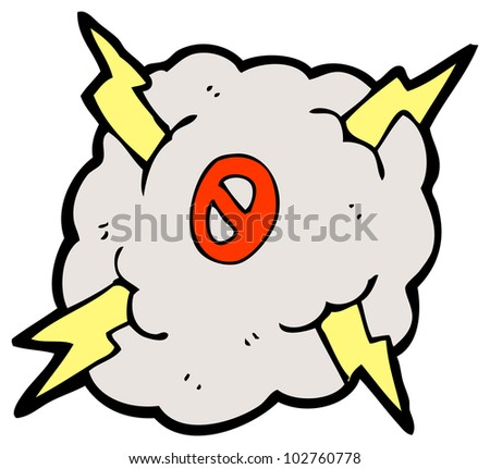 cartoon number zero in storm cloud