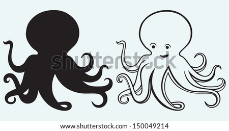 Cartoon octopus isolated on blue background. Raster version - stock photo