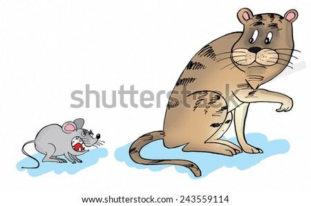 Cartoon of a cat and a mouse. Mouse is angry cat is scaryed - stock photo
