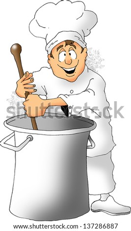 Cartoon of a chef stirring a big pot.