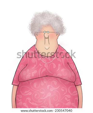 Cartoon of a Happy Smiling Old Lady