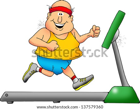 Cartoon of a smiling chubby man on a treadmill.