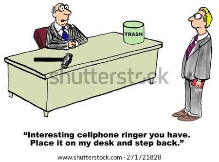 Cartoon of businessman boss saying to associate his cellphone ringer is irritating, put it on the desk and stand back. - stock photo