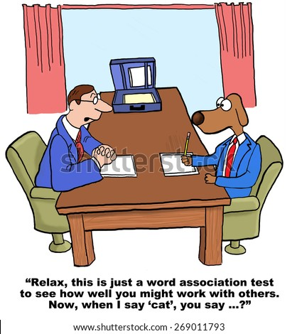 Cartoon of businessman dog in job hiring interview.  He is taking a personality test to see how well he gets along with others, 'when I say cat you say...'.