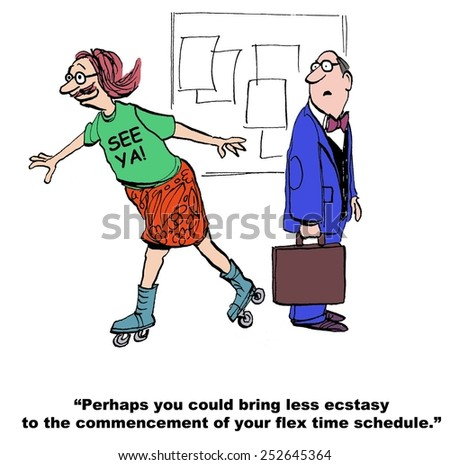 Cartoon of businessman who is ecstatic because he just receive the okay to go on flex time schedule. - stock photo