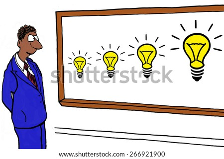 Cartoon of businessman with new ideas and innovation building on one another. - stock photo