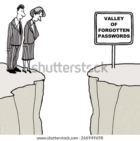 Cartoon of businesswoman and businessman who have forgotten one of their many passwords.  They are looking down into the Valley of Forgotten Passwords. - stock photo