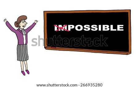 Cartoon of businesswoman celebrating turning the impossible into the possible. - stock photo