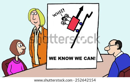 Cartoon of confident business team: we know we can. - stock photo