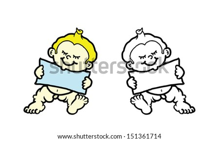 Cartoon of cute baby holding a blank banner with copyspace for text.