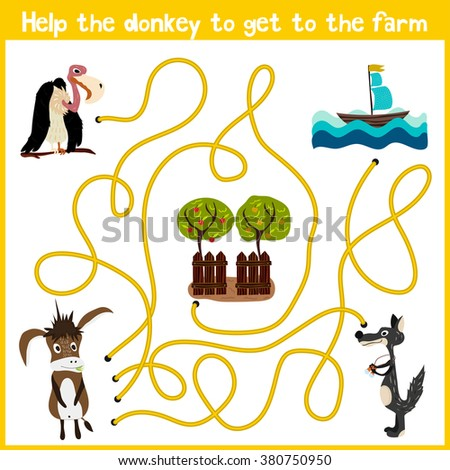 Cartoon of Education will continue the logical way home of colourful animals. Help the donkey to get home in the barnyard. Matching Game for Preschool Children. illustration - stock photo
