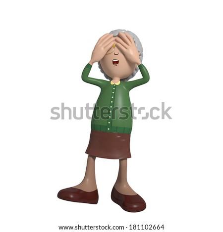 Cartoon of elderly lady in green cardigan closing eyes - see no evil - stock photo