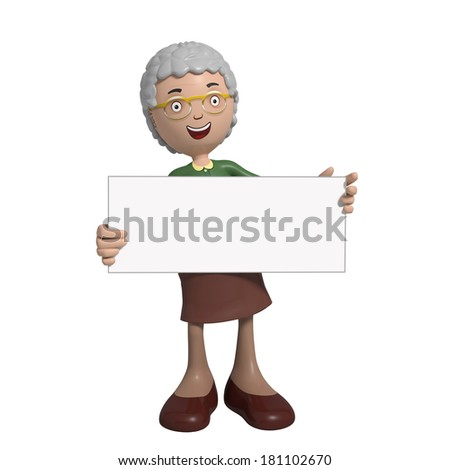 Cartoon of elderly lady in green cardigan holding and pointing at placard - stock photo