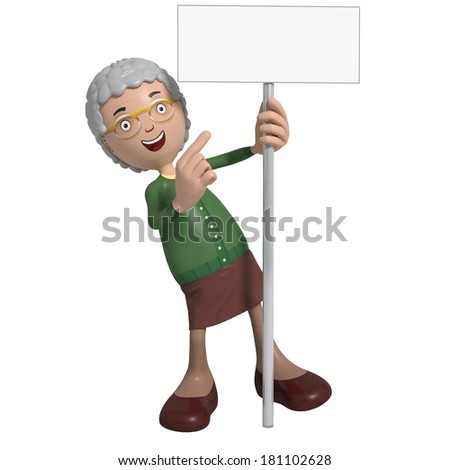 Cartoon of elderly lady in green cardigan holding sign or placard - stock photo