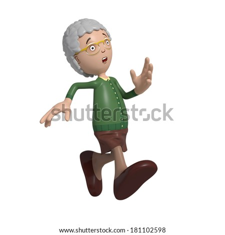 Cartoon of elderly lady in green cardigan running looking concerned - stock photo