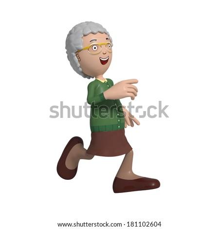 Cartoon of elderly lady in green cardigan running looking happy - stock photo